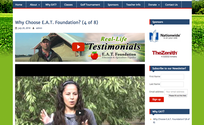 E.A.T. Foundation YouTube Integraton