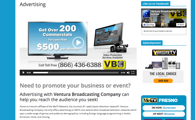 Ventura Broadcasting Company - Info Page - Advertising