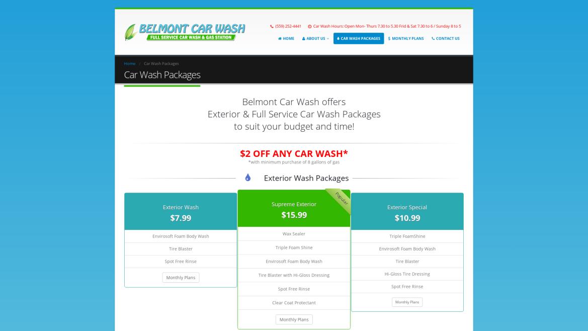 Belmont Car Wash - Car Wash Packages