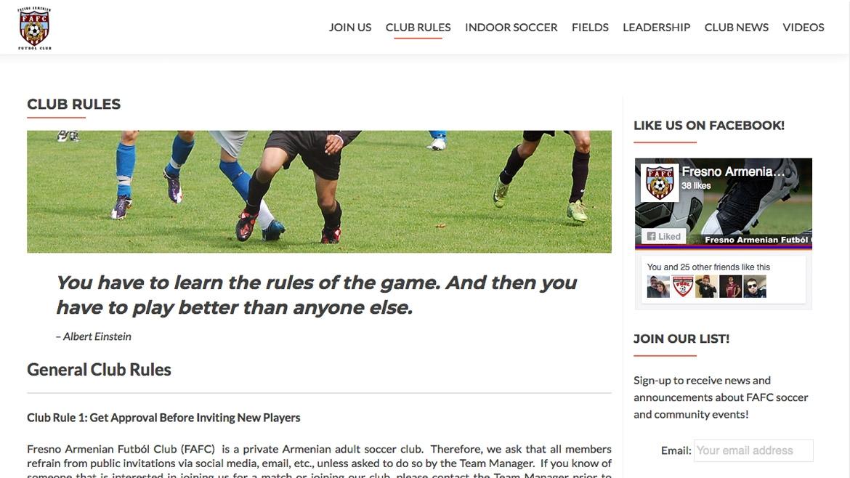 Fresno Armenian Futbol Club - Info Page 1