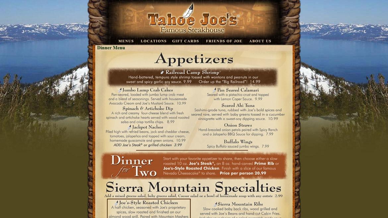 TahoeJoes.Com - Menu