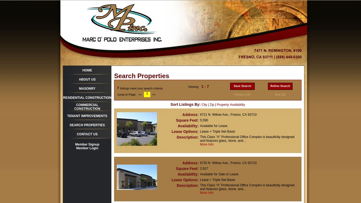 MarcOPoloEnt.Com - Search Results Page