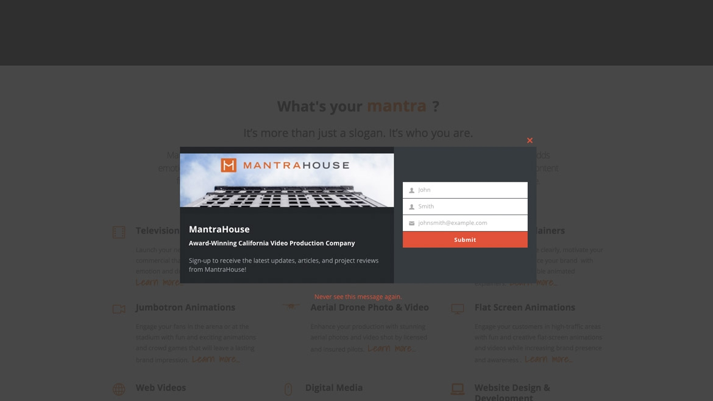 MantraHouse - Pop-up Email Capture Form