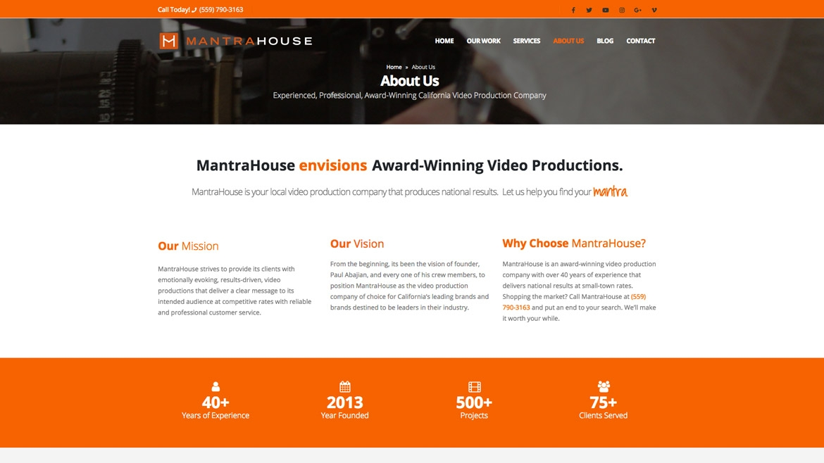 MantraHouse - About Us Page